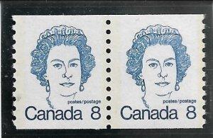 1974 Canada 604  8p Queen Elizabeth MNH coil pair