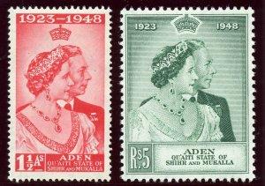 Aden - Qu'aiti 1949 KGVI Silver Wedding set complete MLH. SG 14-15. Sc 14-15.