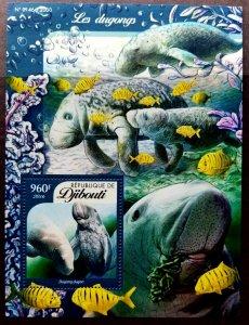 *FREE SHIP Djibouti Dugongs 2016 Marine Life Mammals Coral Fish Ocean (ms MNH