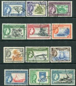 GILBERT & ELLICE ISLANDS-1956-62 Set to 10/- Sg 64-75 FINE USED V32856