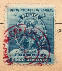 Peru 1896 Early Issue Fine Used 5c. Postmark NW-11688