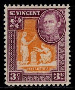 ST. VINCENT GVI SG166a, 3c orange & purple, M MINT.