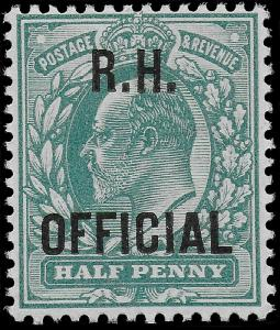 Edward VII SG 091 1902 1/2d (R.H. Official) Blue-Green Mint UNMOUNTED OG