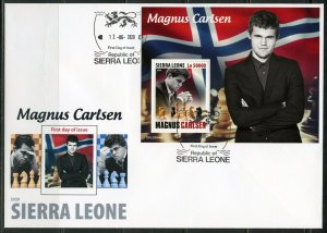 SIERRA LEONE 2020 MAGNUS CARLSEN SOUVENIR SHEET FIRST DAY COVER