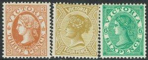 VICTORIA 1901 QV POSTAGE 3D 4D AND 6D WMK V/CROWN PERF 12½