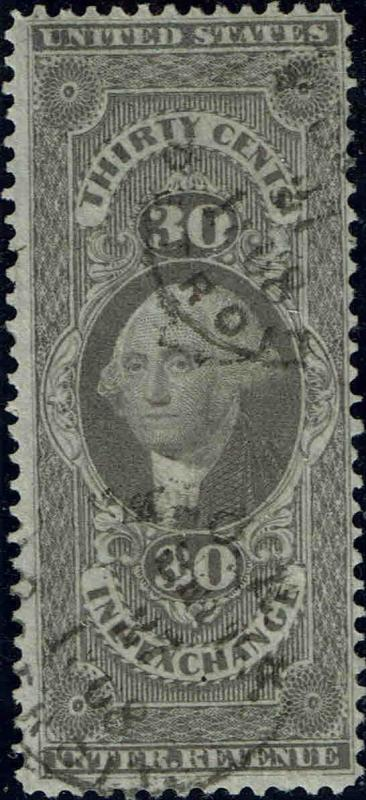 #R53c 1862 30c FIRST ISSUE REVENUE STAMP-USED--LITE CANCEL