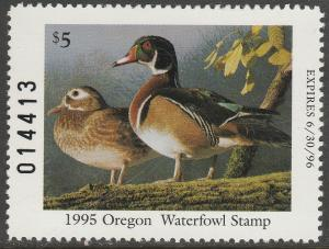 U.S.-OREGON 14, 14a, STATE DUCK HUNTING PERMIT STAMP + BOOKLET. MINT, NH. VF