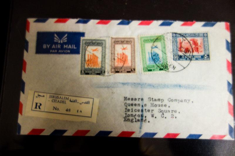 Jordan Registered Cover 1957 to England w/ 4x stamps