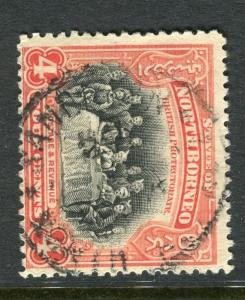 NORTH BORNEO;  1909 early issue fine used 4c. value, fair Postmark