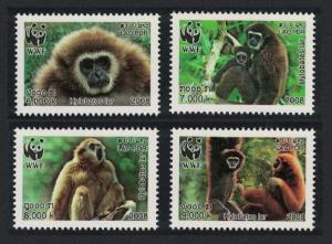 Laos WWF White-handed Gibbon 4v SG#2021-2024 SC#1738a-d MI#2062-2065