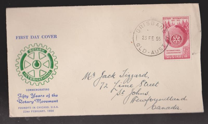 AUSTRALIA Scott # 278 On FDC Rotary International Unknown Thermal Cachet