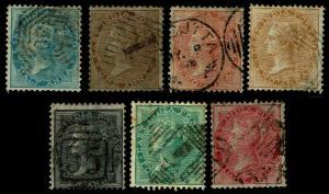1855-64 India # 11-13 & 15-18 QV Unwmkd - Used - Fine+ - CV$184.25 (ESP#3838)