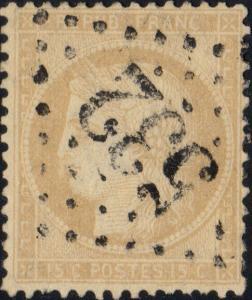FRANCE - Yv.59 15c bistre (petits chiffres) obl. GC 532 (Bordeaux)
