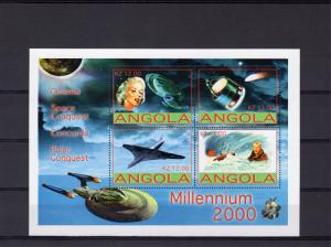 Angola 2001 Halley's Comet/Concorde/M.Monroe Sheetlet (4) Perforated MNH