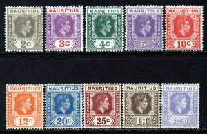 MAURITIUS King George VI 1938-49 Definitive Part Set SG 252 to SG 261 MINT