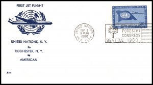 UN New York to Rochester,NY American Airlines First Jet Flight Cover