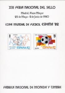 Spain 1980 Sc#2211/12 World Soccer Cup 82 Official Souvenir by FNMT Spain