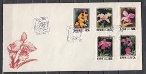 N. Korea, Scott cat. 3277-3281. Various Orchids issue on a First day cover. ^