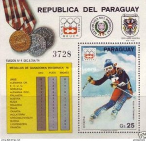 SW2830 - Paraguay -  Medal Winners   Winter Olympic Games 1976  - Minisheet MNH
