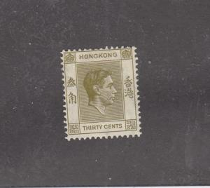 HONG KONG LOT REF(KK3322) # 161 VF-MH KGV1 30cts ISSUE CAT VALUE $75