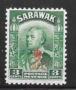 Sarawak 161: 3c Sir Charles Vyner Brooke overprint, MH, F-VF