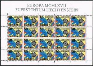 Liechtenstein 420 sheet,MNH.Michel 474 bogen. EUROPA CEPT-1967,Cogwheels.