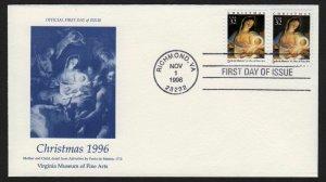 1996 Christmas Sc 3107 3112 Virginia Museum of Fine Arts 1st cachet