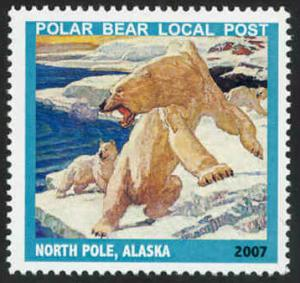 Polar Bear Local Post Stamp - MNH - Cinderella