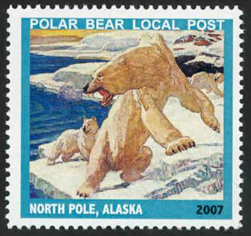 Polar Bear Local Post Stamp - MNH - Cinderella