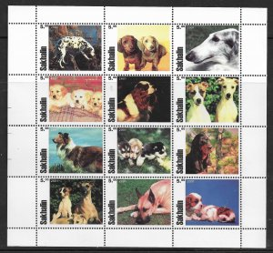 Sakahlin MNH S/S Adorable Puppies 2001 12 Stamps
