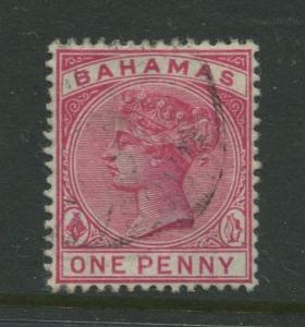 Bahamas -Scott 27 - QV Definitive Issue -1884 - FU - Single 1p Stamp