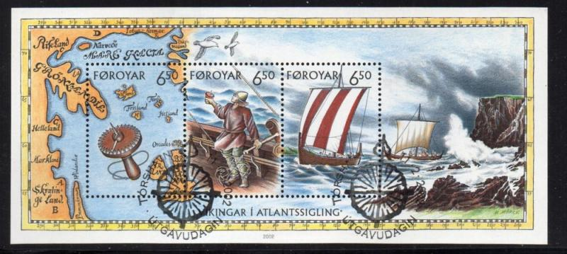 Faroe Islands Sc 413 2002 Viking Voyages stamp sheet used