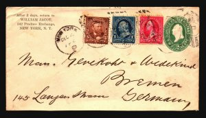 US 1896 Uprated Stationery Cover to Germany - Z19213