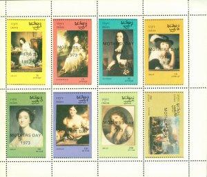 RK5-0037 OMAN  MH SHEET OF 8  MOTHERS DAYS 1973 BIN $5.00