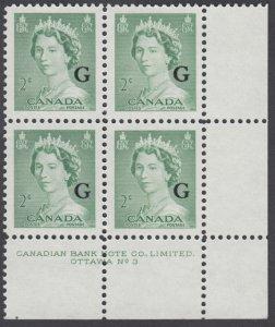 Canada - #O34 Queen Elizabeth II Karsh Portrait Plate Block #3 - MNH