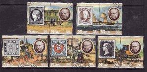 Niue-Sc#241-5- id6-used set-Stamp on stamp-Penny Black-1979-