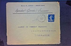 France 1913 Cover to Constantinople (3 Sides Cut) - Z1267