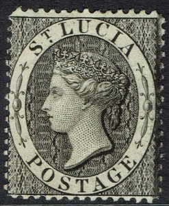 ST LUCIA 1864 QV (1D) WMK CROWN CC PERF 14