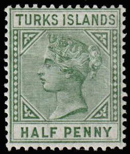 Turks Islands Scott 48 (1885) Mint H F-VF, Cat. Value $7.25 M