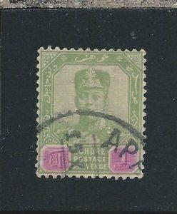 JOHORE 1910-19 $1 GREEN & MAUVE FU SG 87 CAT £130