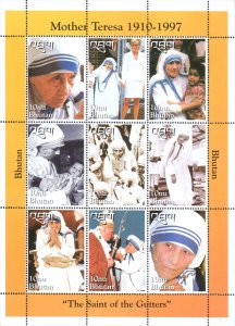 Bhutan 1998 Mother Teresa, Diana, Pope John Paul II 9v Mint Full Sheet. (L-87)