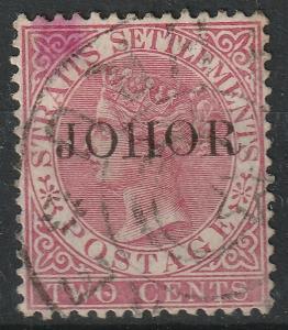 Malaya Johor 1888 opt Straits Settlements QV 2c Used SG#14 CV£75 M1958