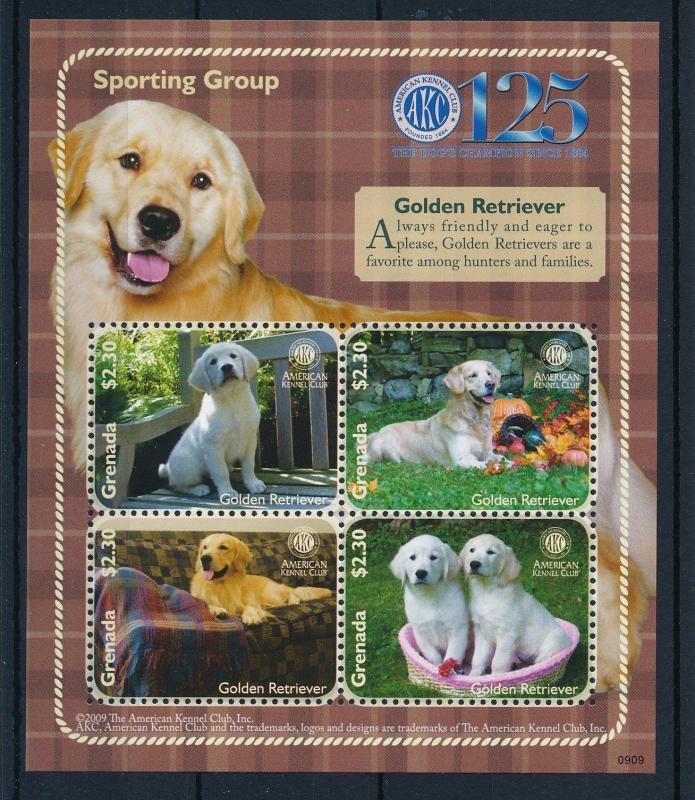 Grenada MNH S/S Golden Retriever Dogs 2009 4 Stamps