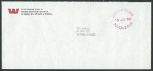 NORFOLK IS 1988 commercial local cover POSTAGE PAID cds....................43048