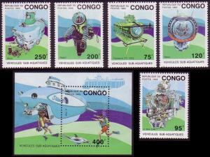 Congo Underwater vehicles 5v+MS MI#1371-1375+Block 112