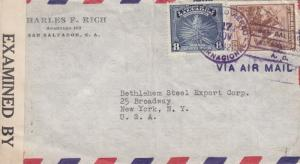 1942, El Salvador to New York, NY, Censored, See Remark (C2505)