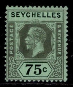 SEYCHELLES GV SG118, 75c black/emerald, M MINT.
