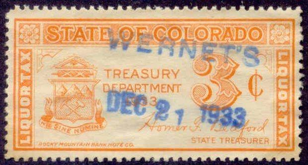 Colorado State Revenue Stamp 3c Liquor Tax # WL1