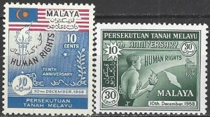 Malaya  89-90  MNH  Human Rights 10th Anniversary