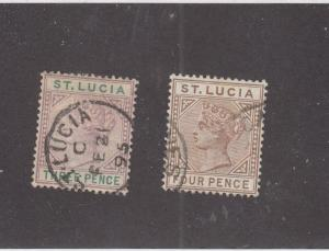 ST. LUCIA (MK969) # 32-33  VF-USED 3,4d  QUEEN VICTORIA ISSUES /VIO-GREEN/BROWN